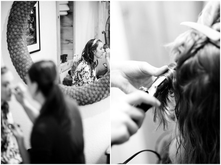 bride getting hair and make up done wedding photo