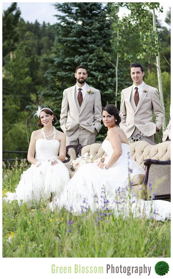 www.greenblossomphotography.com, Colorado LGBT Wedding photo, Wild Basin Lodge wedding photo, Colorado same-sex wedding photo, Colorado lesbian wedding photo, Pretty Bride Shop wedding photo, Good Ol' Fashioned Party Wedding Photo,