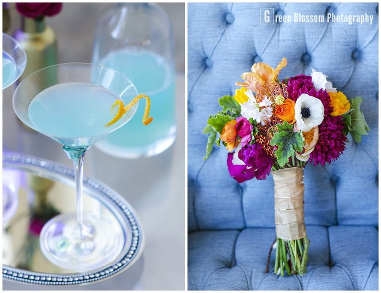 www.greenblossomphotography.com, Hunger Games Capitol citizen wedding photo, Colorado wedding photo, Denver wedding photo, The Studio Denver venue photo, Bella Calla wedding flowers photo, Juliana's Bakery and Cakery wedding sweets photo, Be-Dazzled Beauty wedding hair and make-up photo, Cherished vintage rental blue chair photo, Alexan Events acrylic side table photo