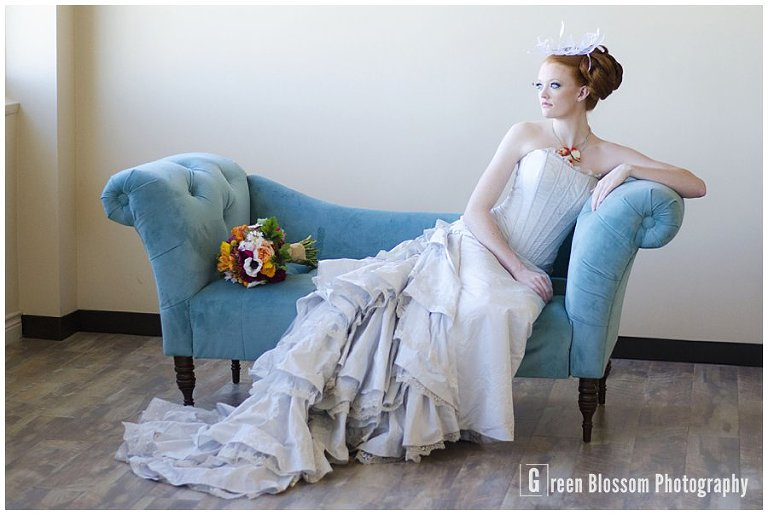 www.greenblossomphotography.com, Hunger Games Capitol citizen wedding photo, Colorado wedding photo, Denver wedding photo, The Studio Denver venue photo, Bella Calla wedding flowers photo, Juliana's Bakery and Cakery wedding sweets photo, Be-Dazzled Beauty wedding hair and make-up photo