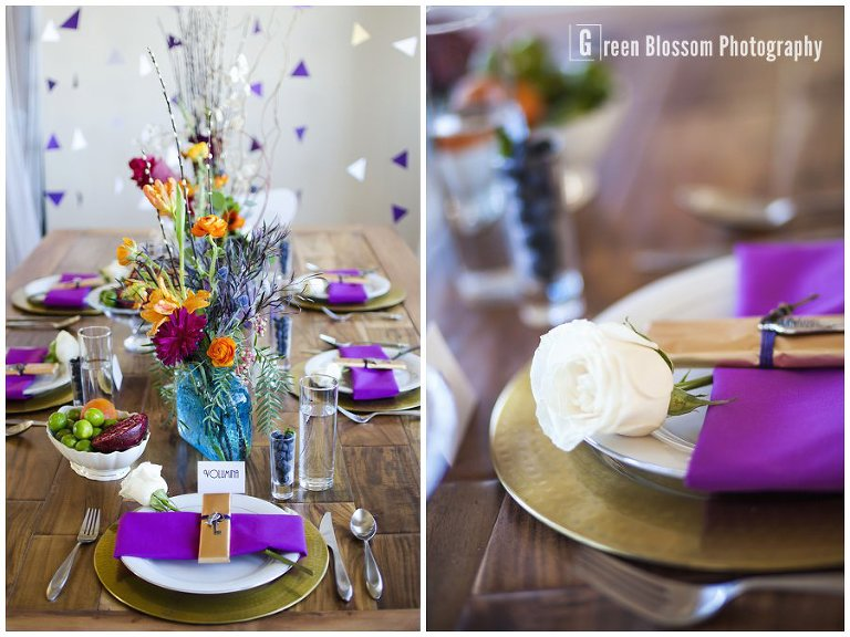www.greenblossomphotography.com, Hunger Games Capitol citizen wedding photo, Colorado wedding photo, Denver wedding photo, The Studio Denver venue photo, Bella Calla wedding flowers photo, Be-Dazzled Beauty wedding hair and make-up photo, Charming Chairs tablescape photo