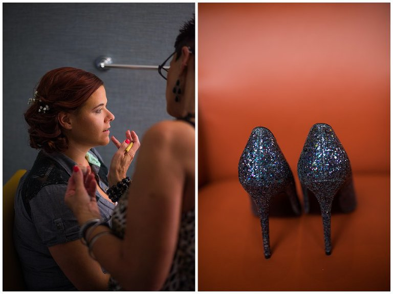 LGBT Wedding bride getting make up done with sparkly shoes photo