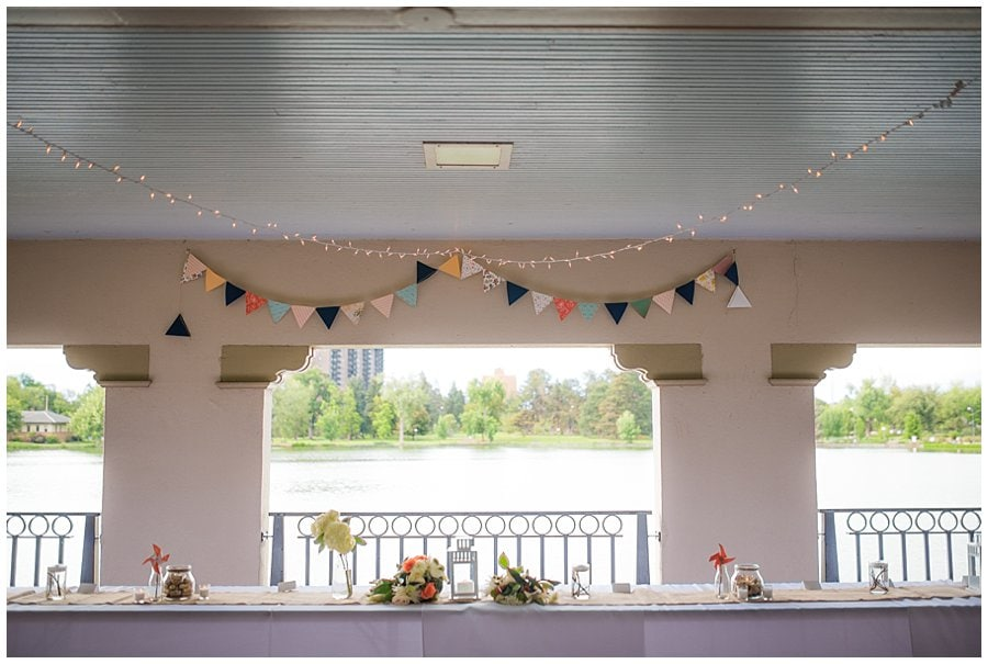 Washington Park Denver boathouse wedding reception photo