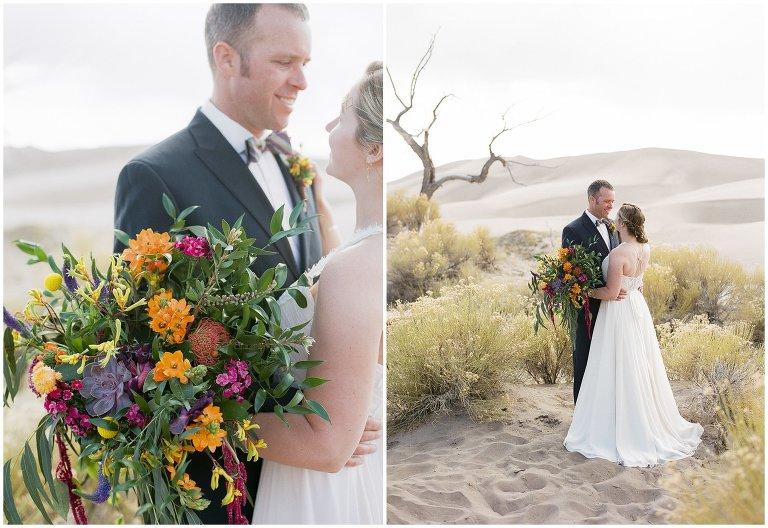 bride and groom in Colorado sand dunes wedding photo
