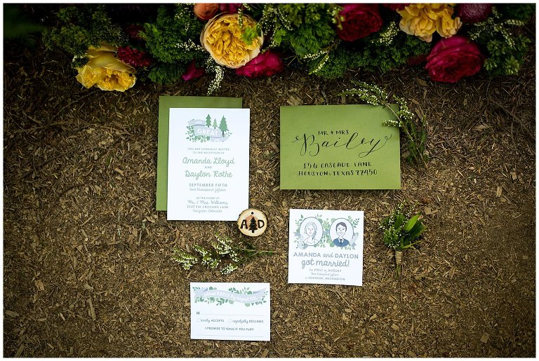 in the woods invitation set elopement photo