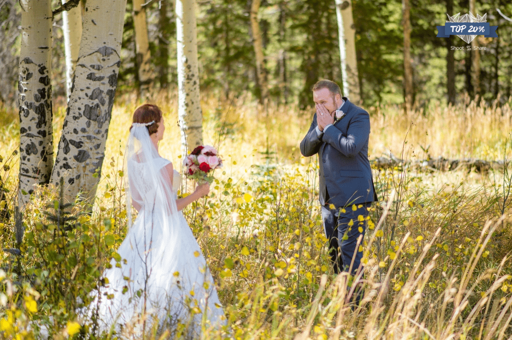 emotional first look in colorado aspen grove photo