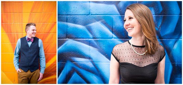 colorful mural Denver engagement photo