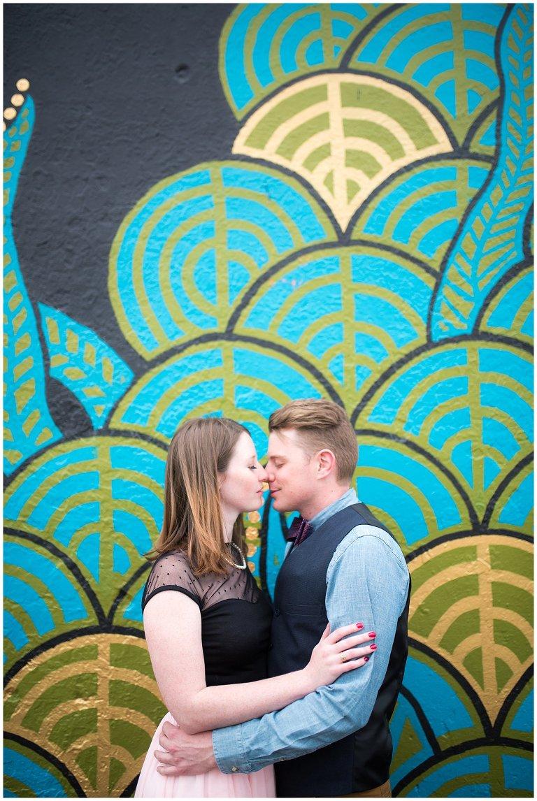 Denver Rino District art murals engagement photo