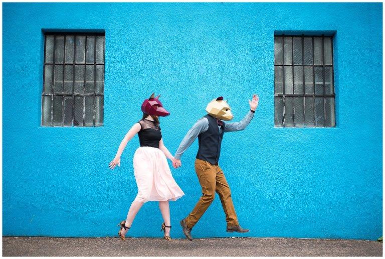 couple wearing Wintercroft Masks for Denver RiNo engagement photo