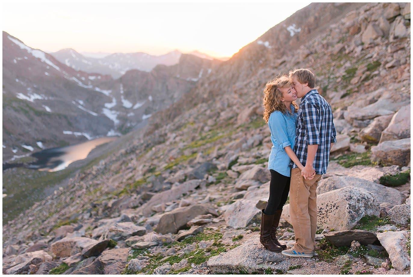 engagement photo at Mt. Evans summit Colorado