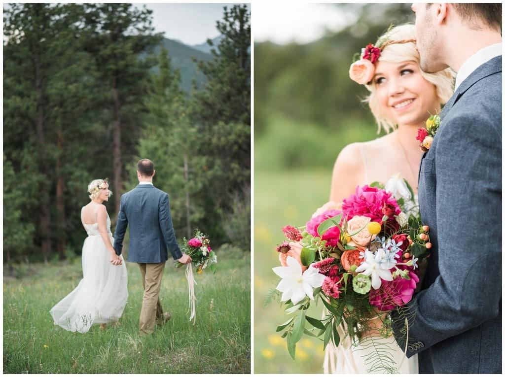 bride and groom in meadow in estes park photo