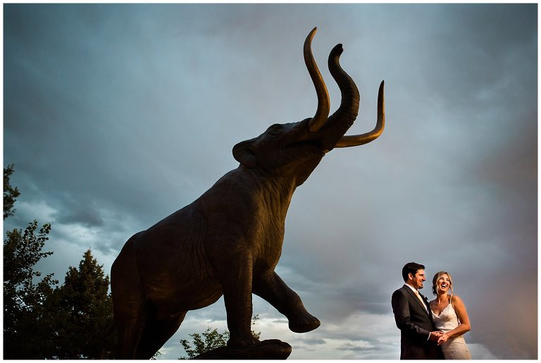 Denver Museum of Nature and Science Wedding with mastodon photo