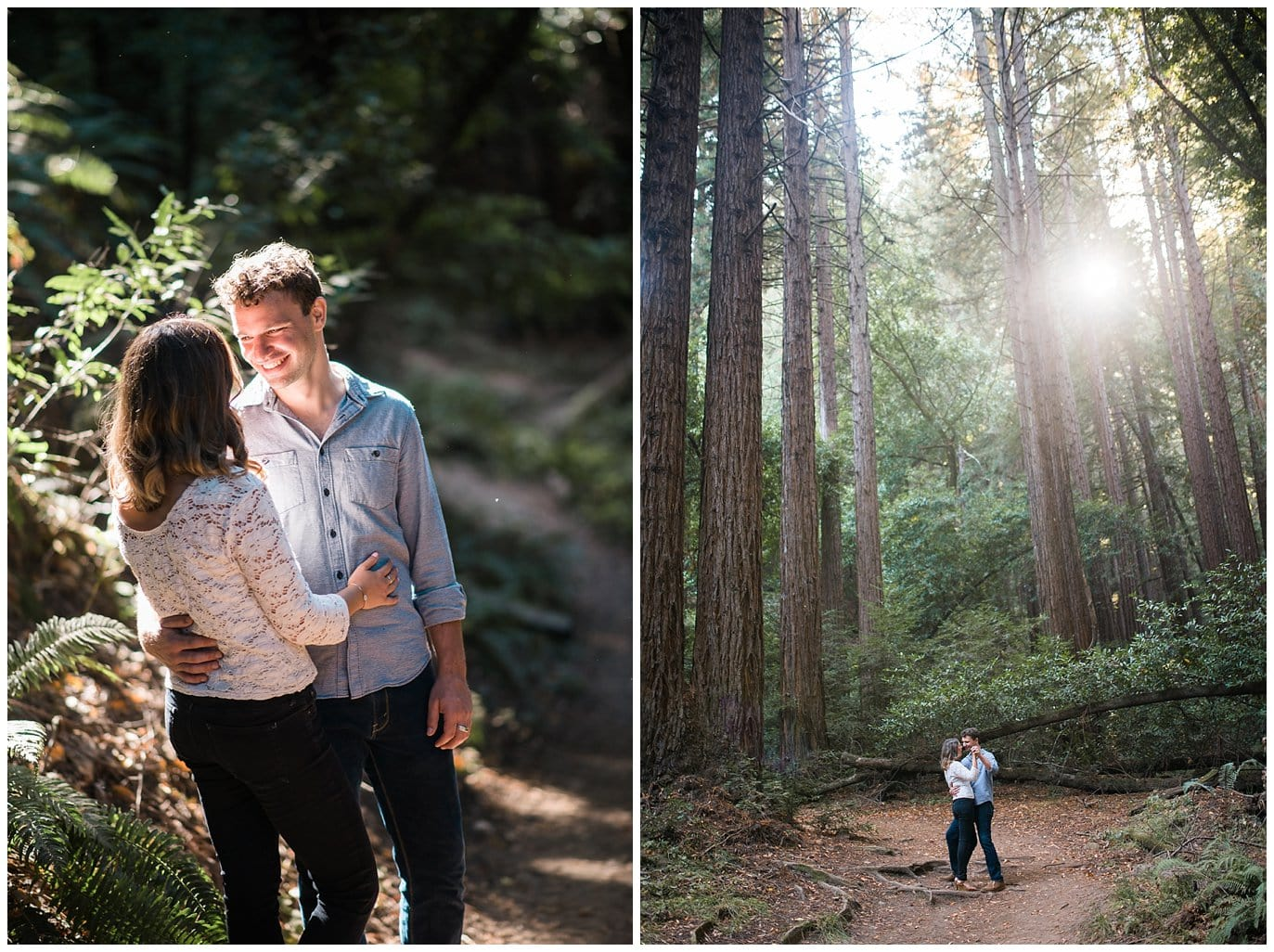 redwood forest engagement photo