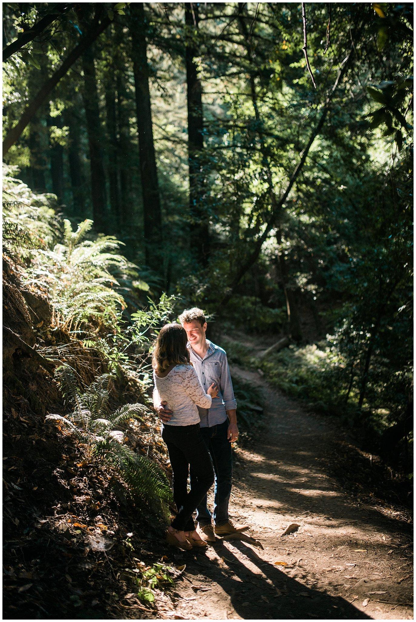california redwood engagement photo