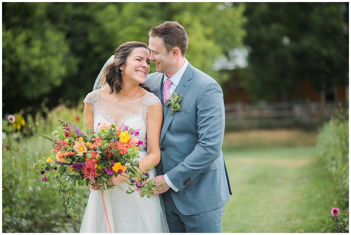 Colorful Colorado farm wedding photo