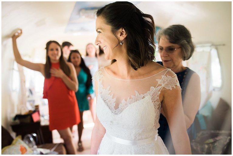 bride getting ready at Lyons Colorado farm wedding photo