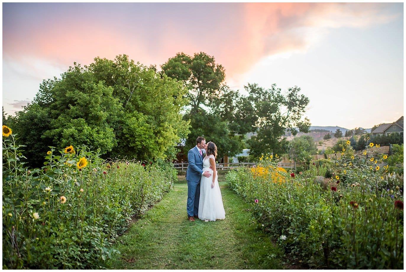 sunset photo at intimate Colorado wedding photo