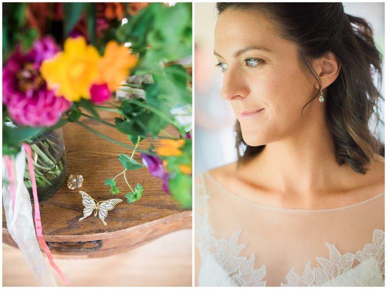 heirloom pin and fresh farm wedding bouquet photo