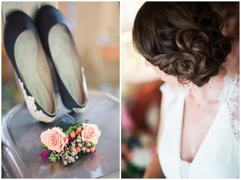 blue lace wedding shoes and bridal updo photo