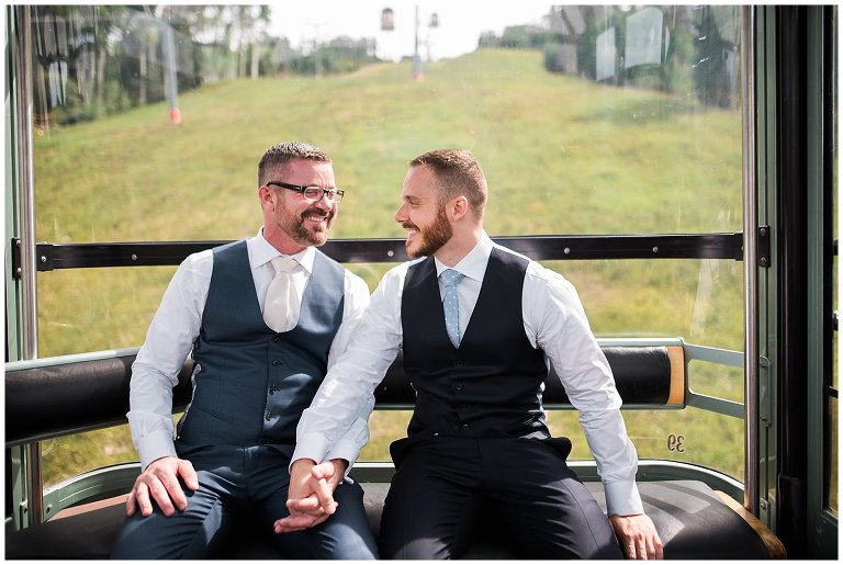 grooms riding vail colorado gondola wedding photo