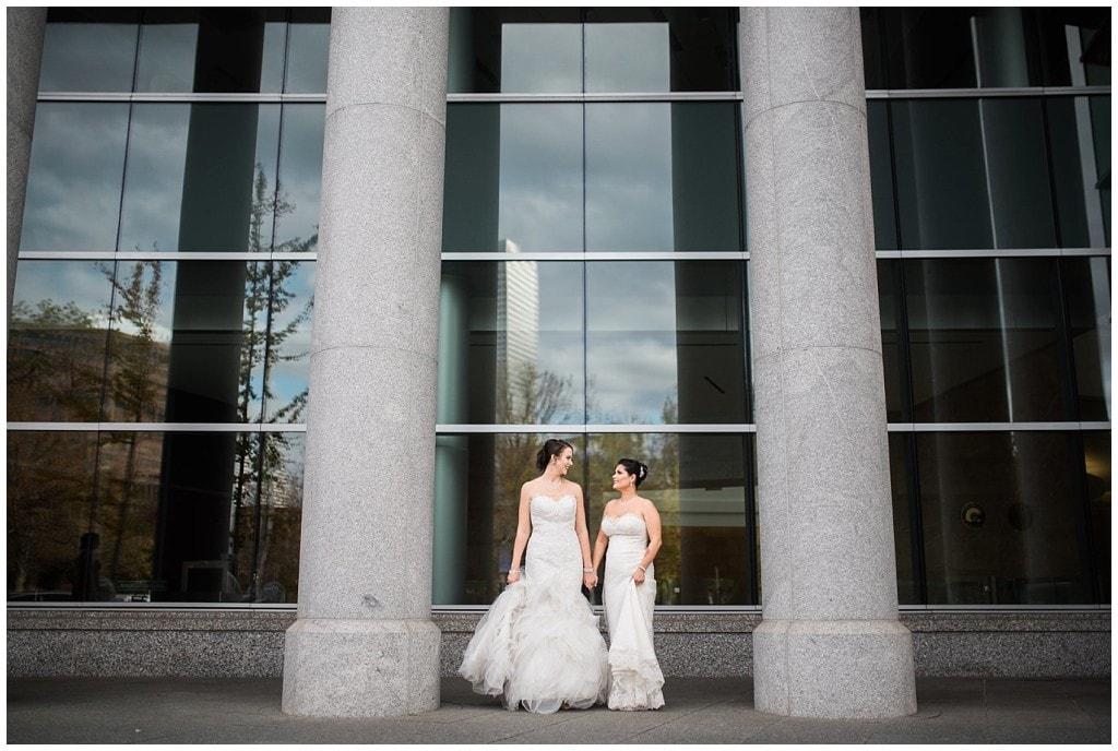 brides at justice center in Denver photo