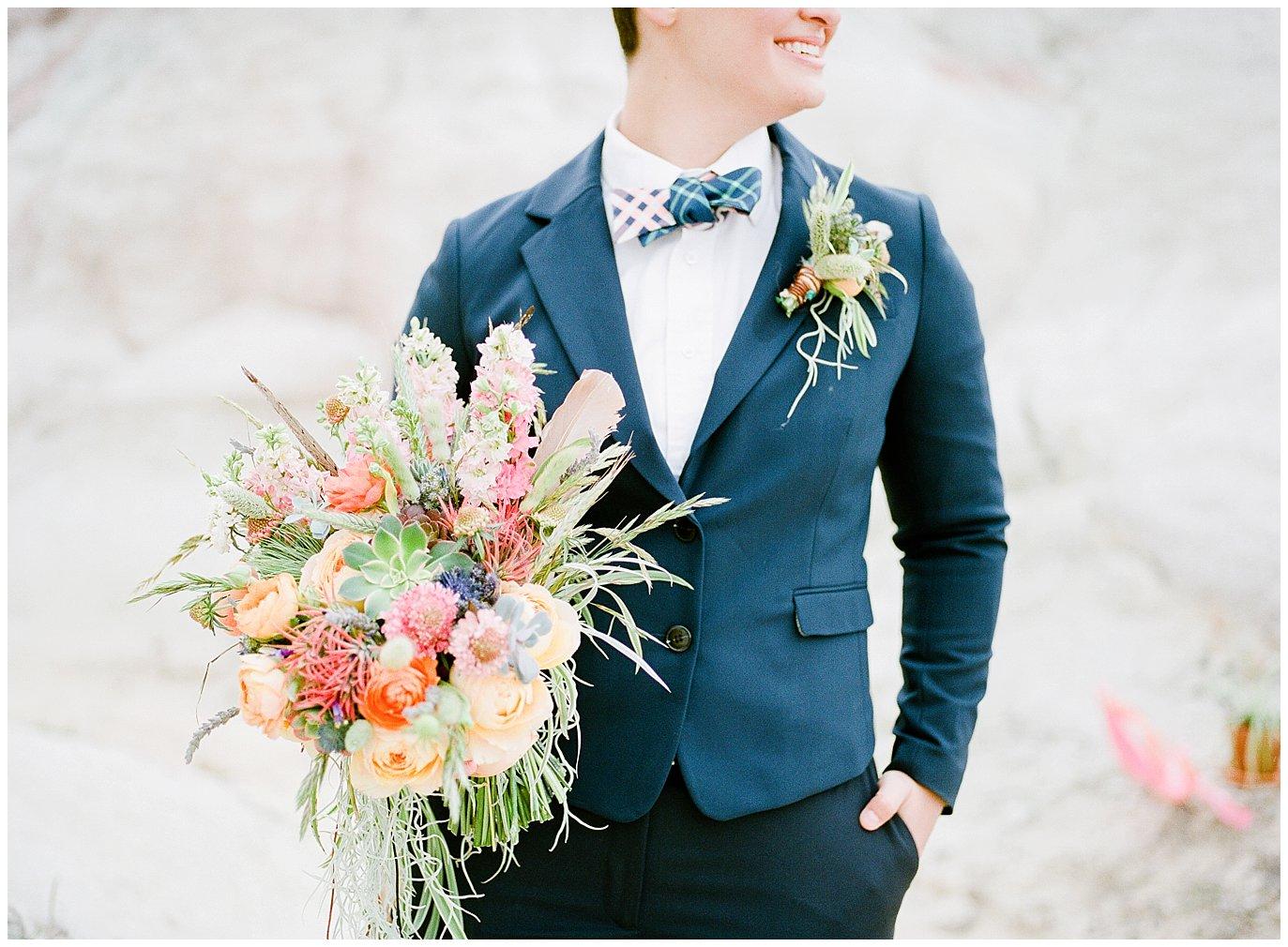 LGBTQ+ wedding suits, bow ties, and shirts