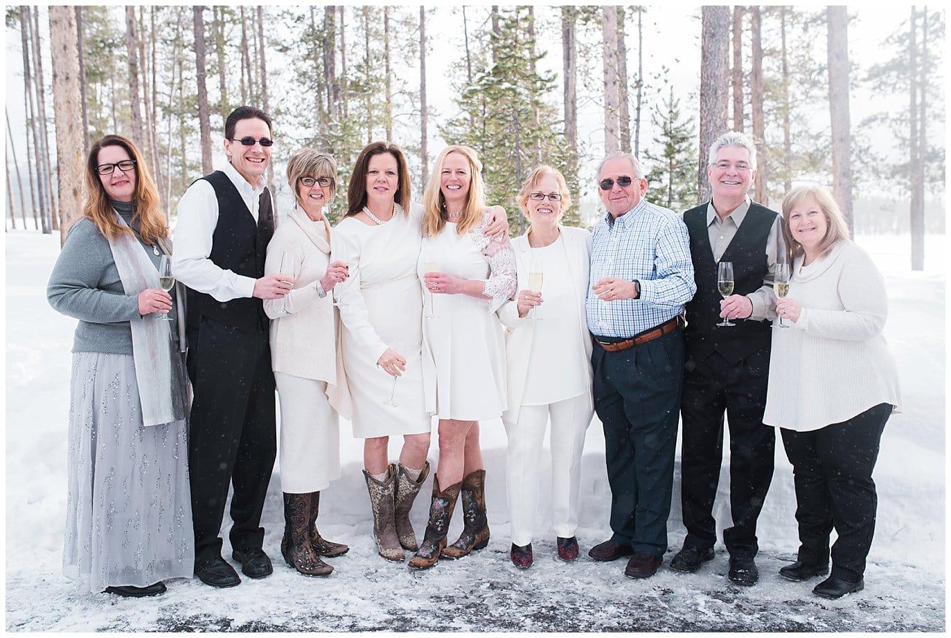 winter colorado wedding family photo