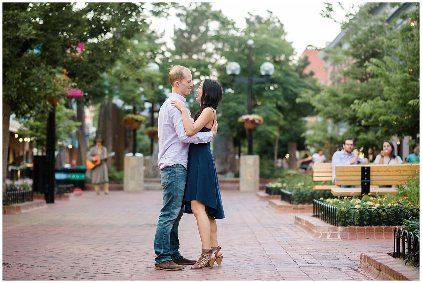 downtown Boulder engagement photo