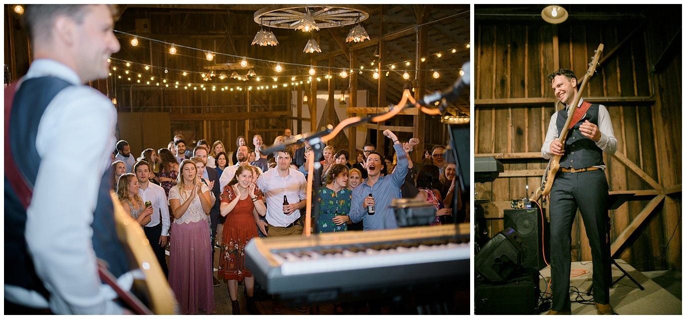 groom playing in band at wedding photo