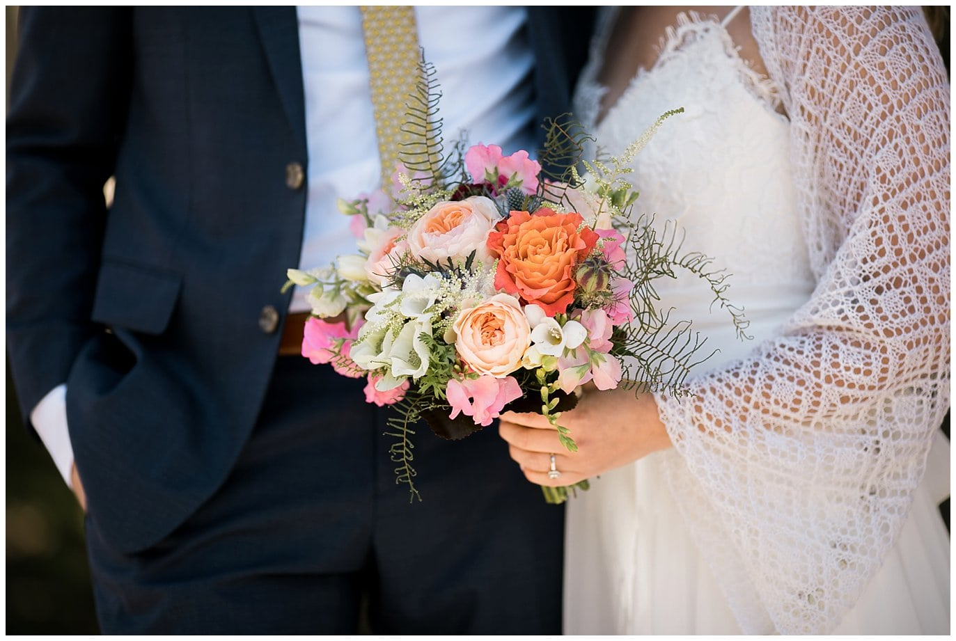 coral and pink bridal bouquet