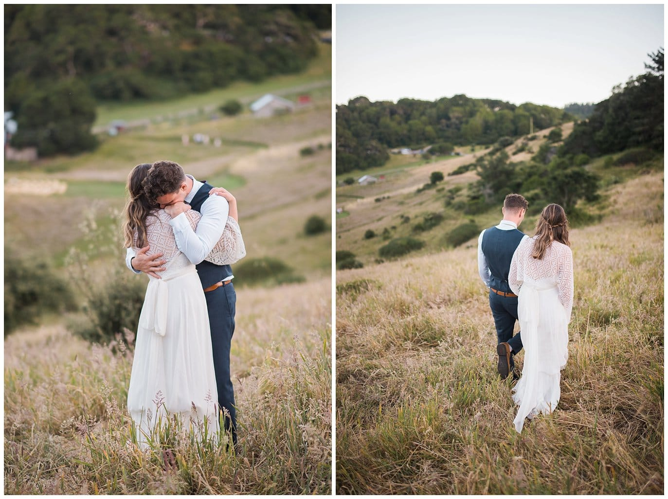 couple walks hand in hand in field at sunset during intimate California wedding at Mann Family Farm
