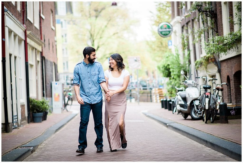 Amsterdam canal engagement photo