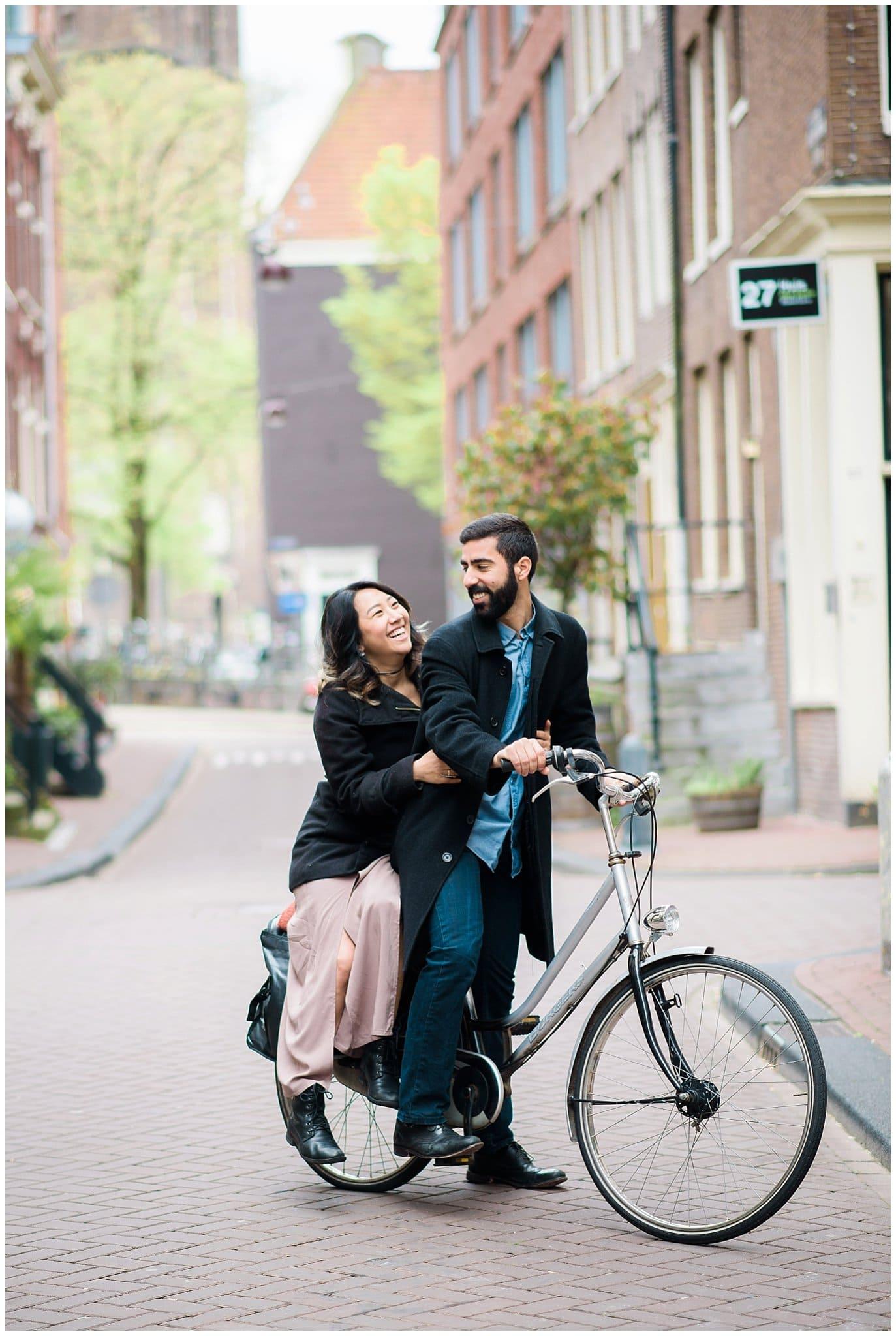 Amsterdam bike engagement session photo