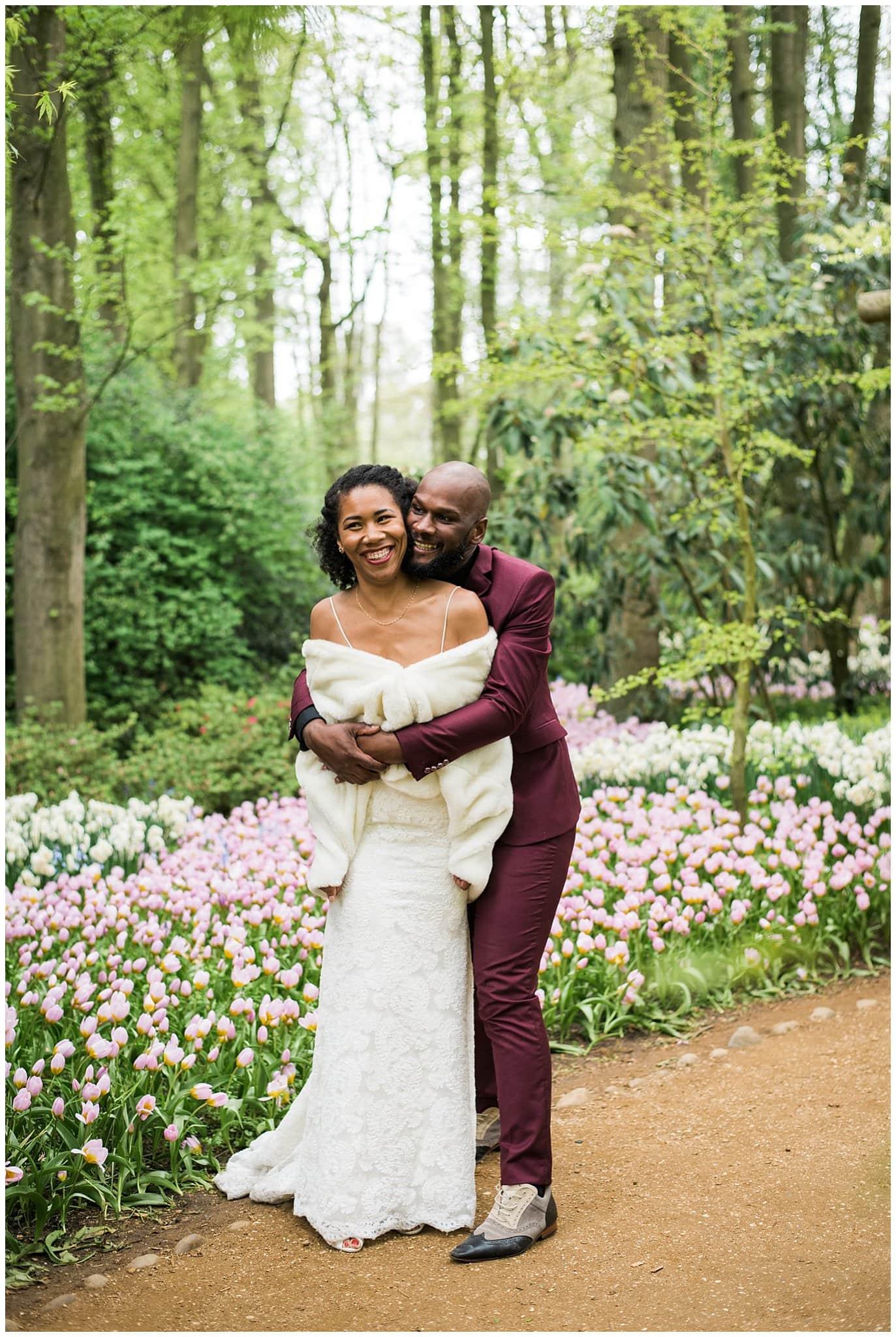 dutch tulip garden wedding photo
