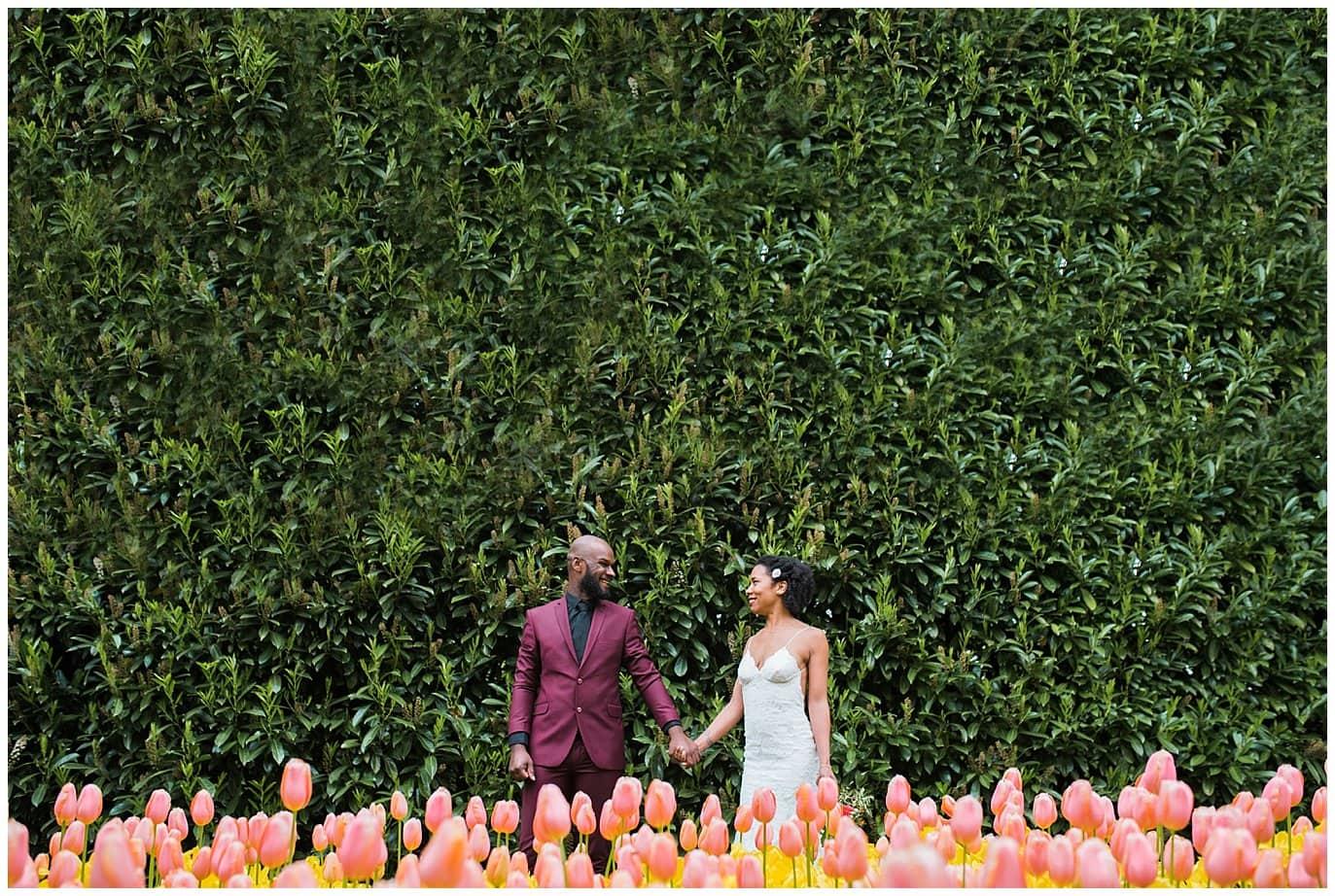 colorful tulip wedding photo
