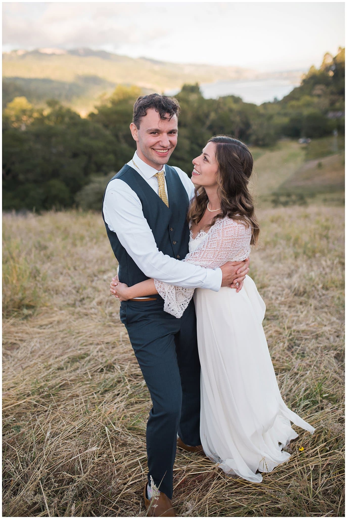 sunset bride and groom photo