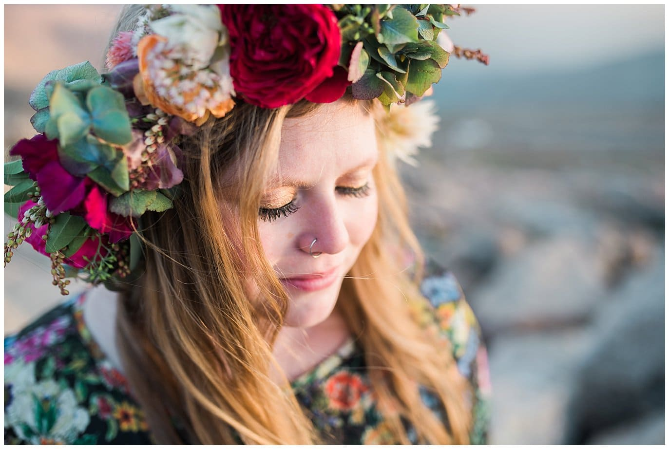 double flower crown colorado mountain elopement photo