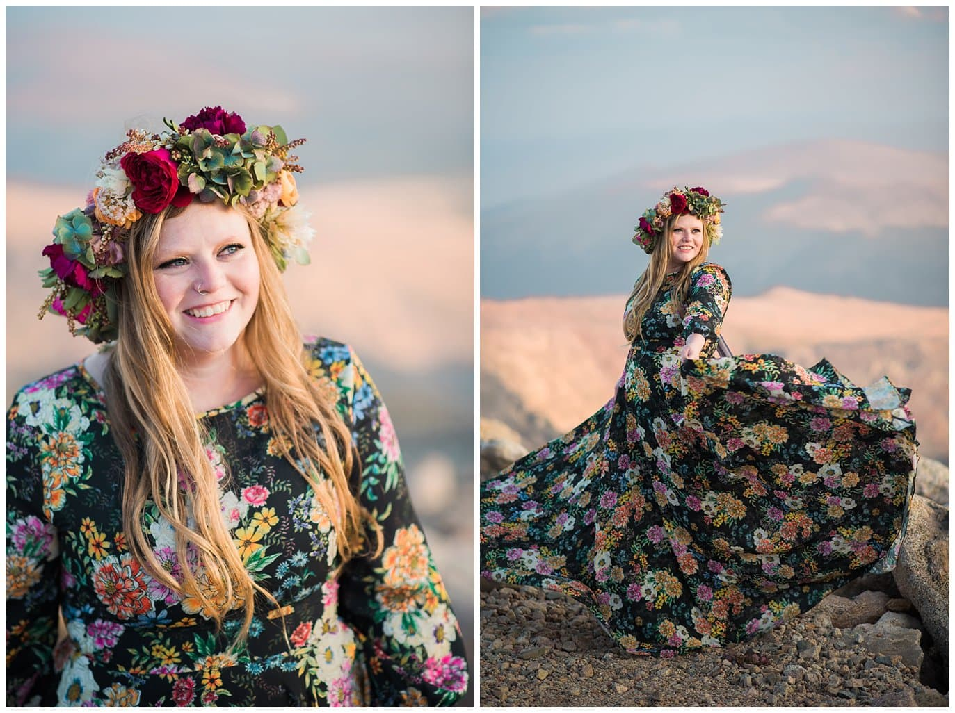 bride in flower crown and Anthropologie dress photo