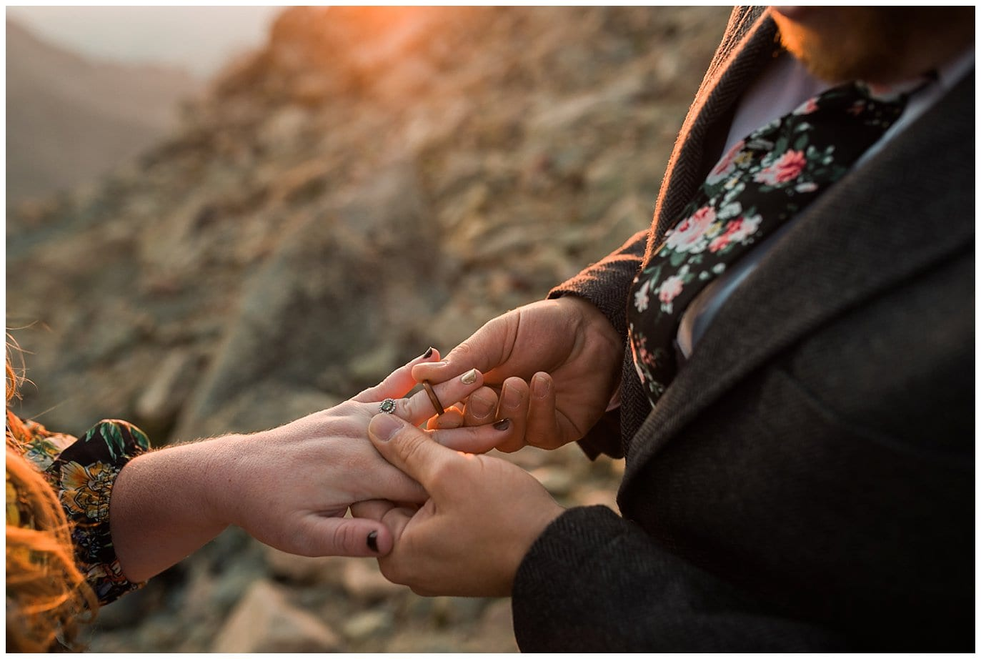exchanging rings Mt. Evans elopement