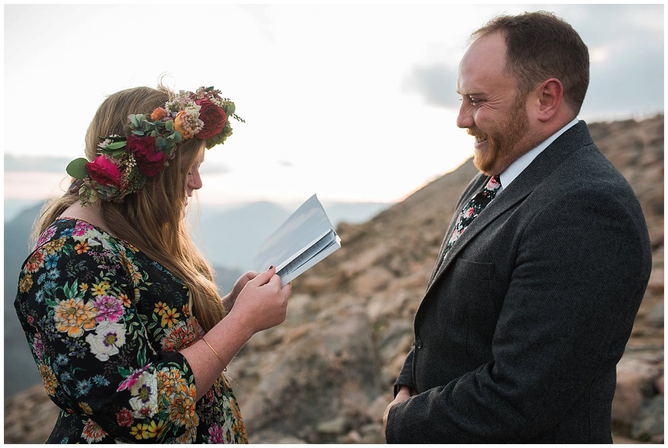 saying vows Mt. Evans elopement photo