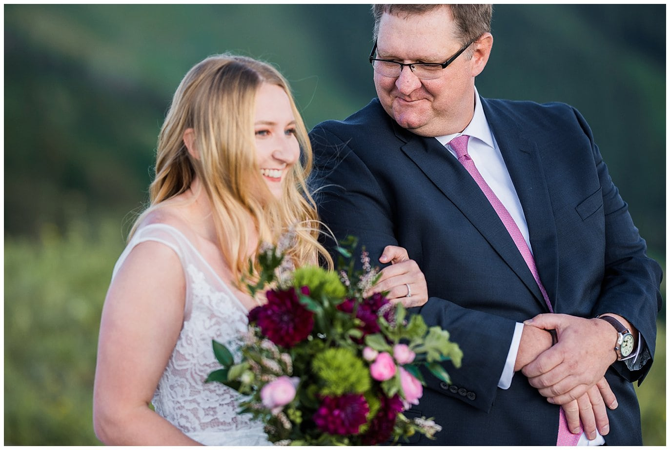 father walking daughter down the aisle colorado wedding photo