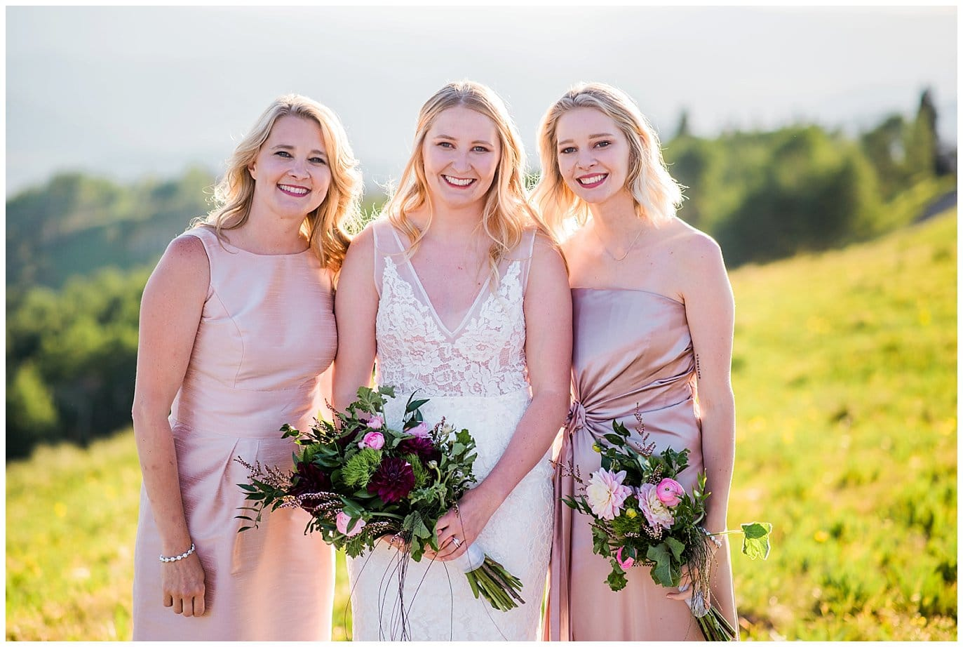 bridal party in pink dresses photo