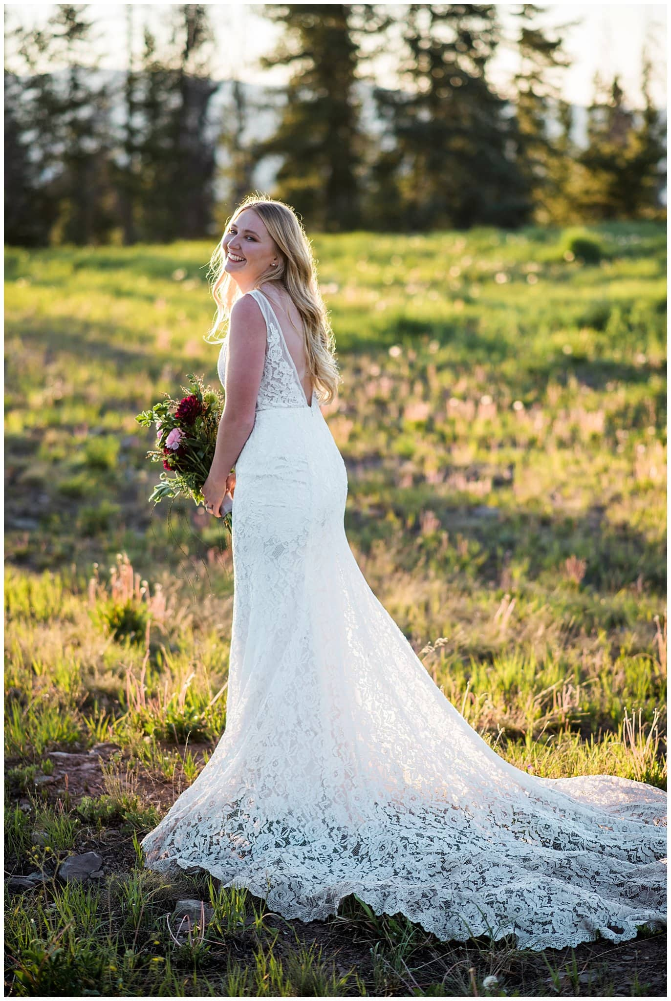 Made With Love Bridal lace wedding dress at sunset