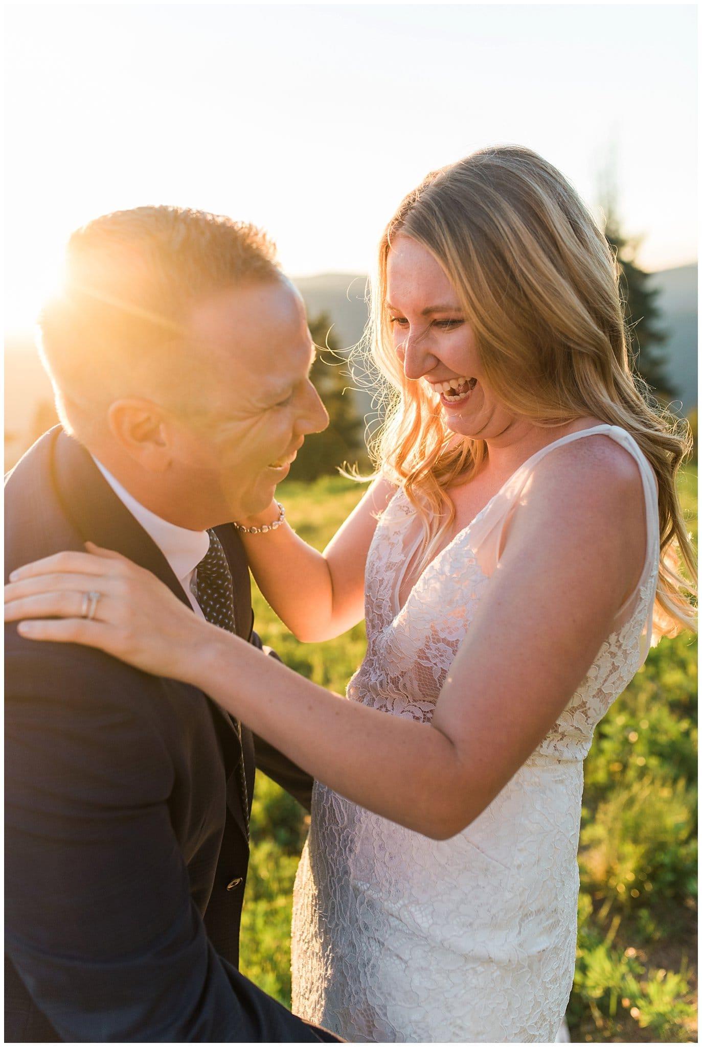 sunset wedding vail mountain