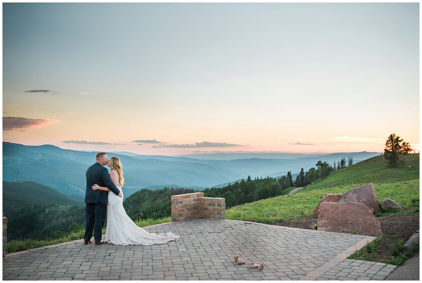mountaintop summer wedding photo in Vail by Vail wedding photographer Jennie Crate