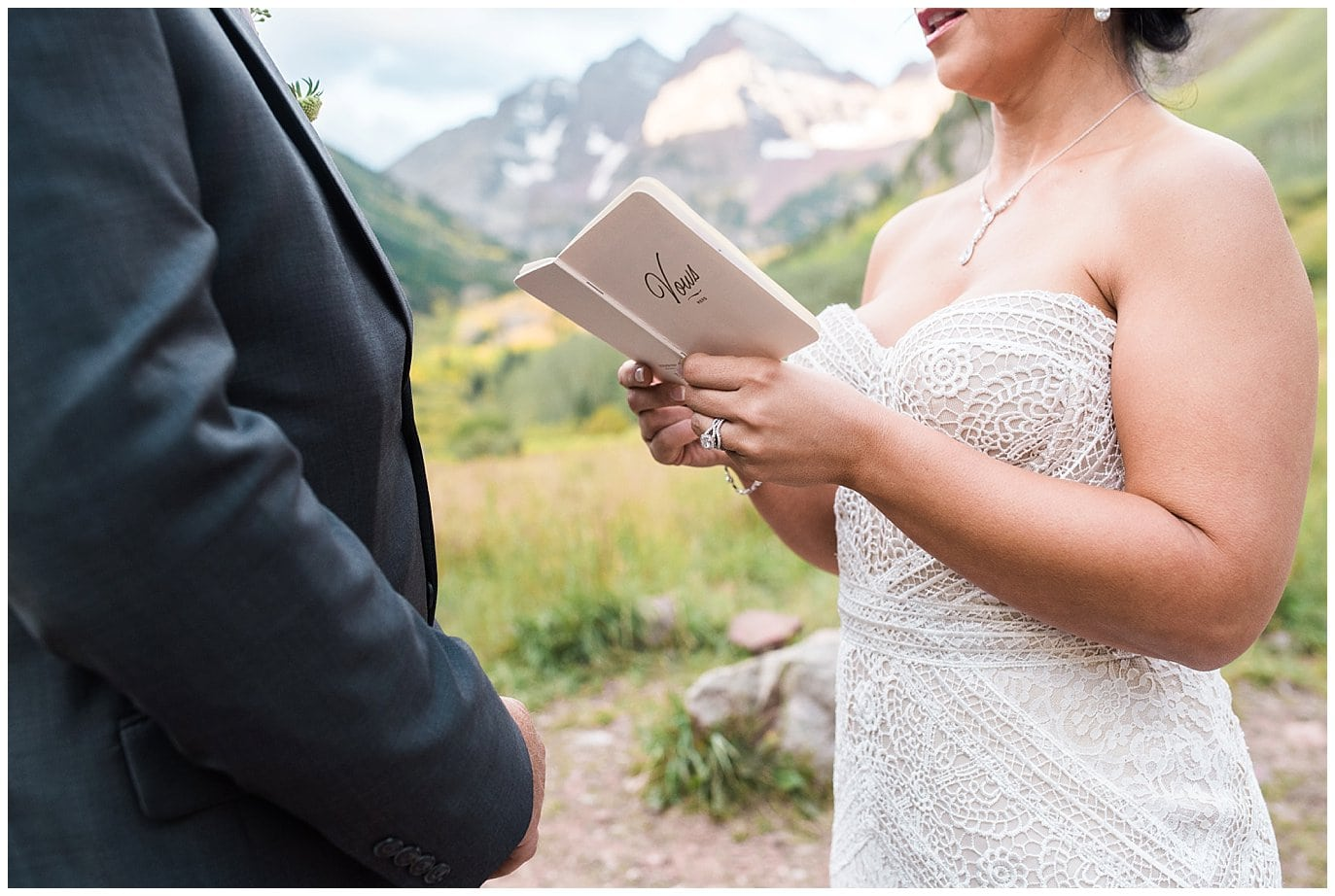 saying personal vows during elopement photo