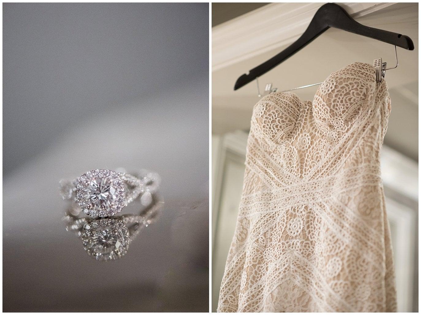 diamond engagement ring and lace wedding dress photo
