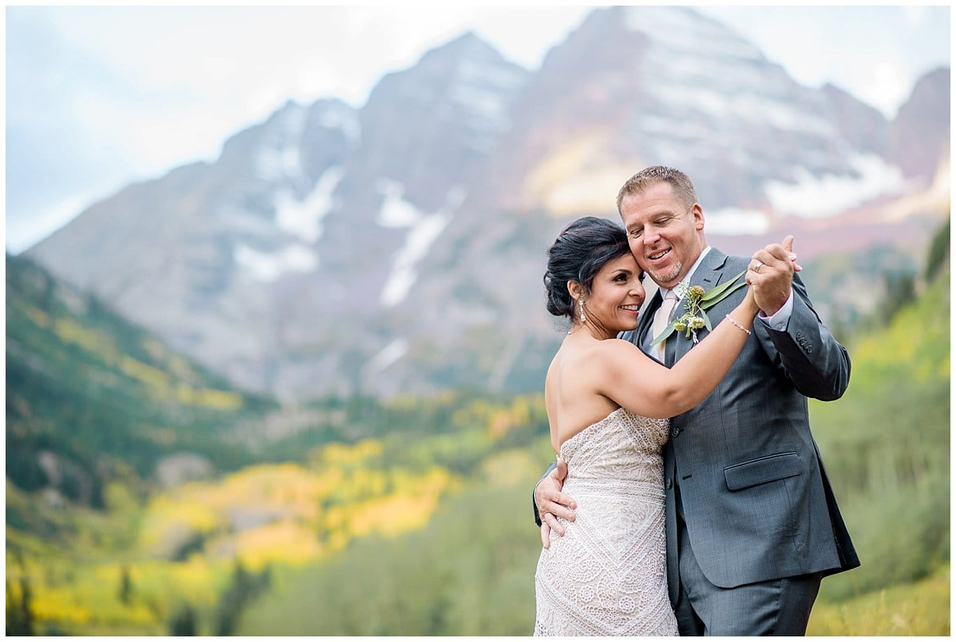 intimate wedding at maroon bells aspen photo