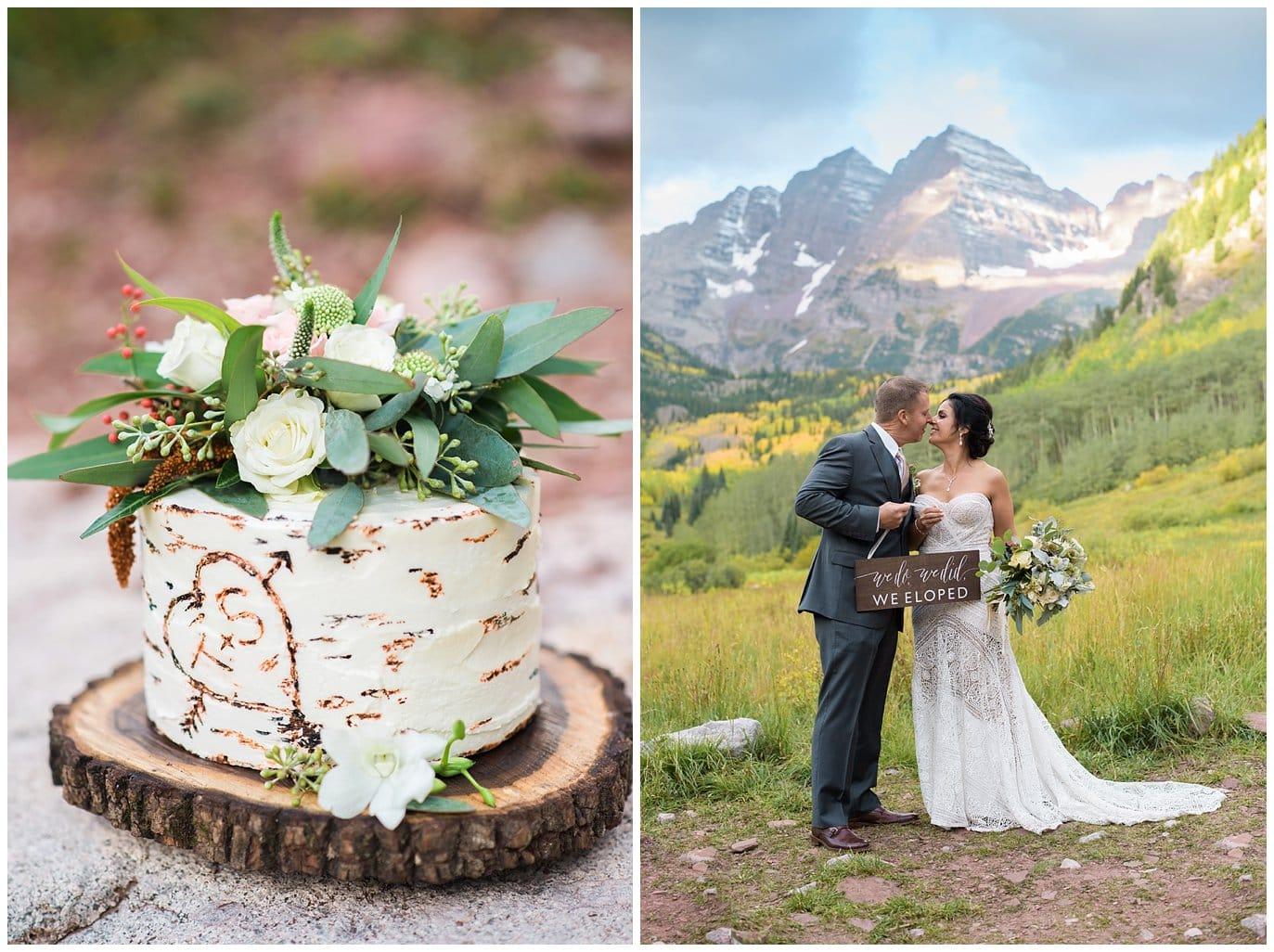 birch bark wedding cake photo