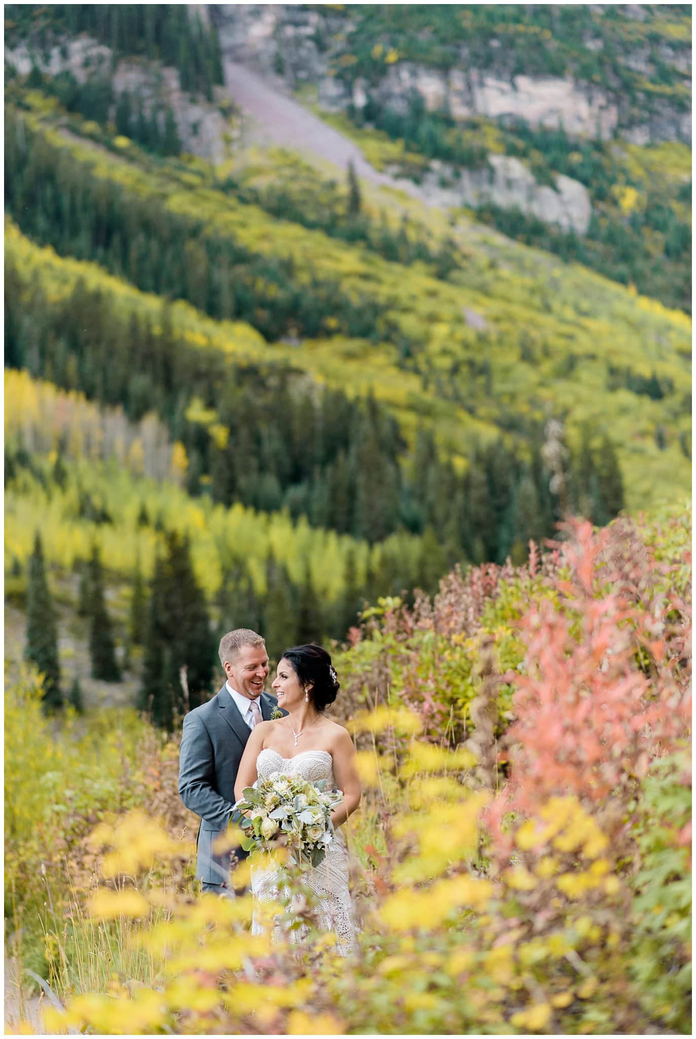 Colorado fall wedding photo